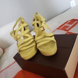 Louis Vuitton 37.5 scrappy yellow heels